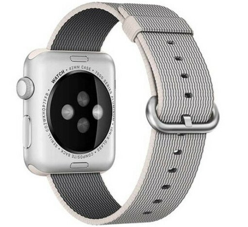 Curea iUni compatibila cu Apple Watch 1/2/3/4/5/6, 42mm, Nylon, Woven Strap, White/Gray